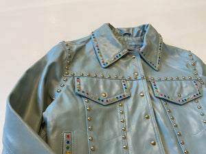 IGWT Vintage - Rainbow Rhinestone Leather Jacket / Sky Blue
