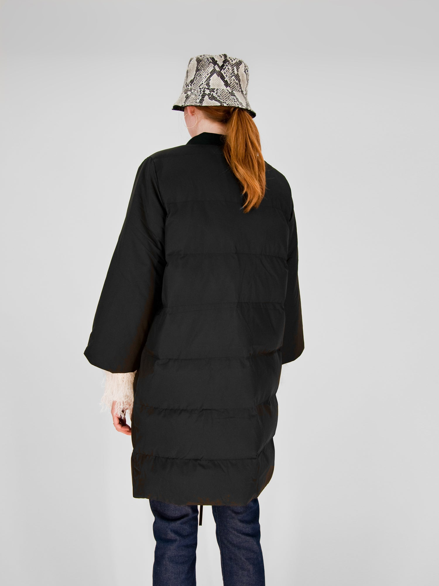 Intentionally Blank - PHIL Puffer Lapel Coat / Black