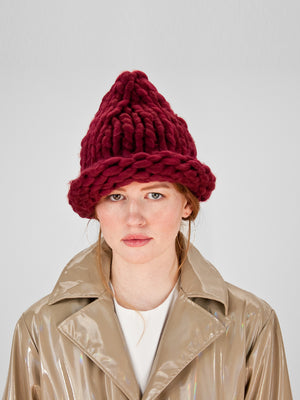 Loopy Knit Beanie / Cranberry