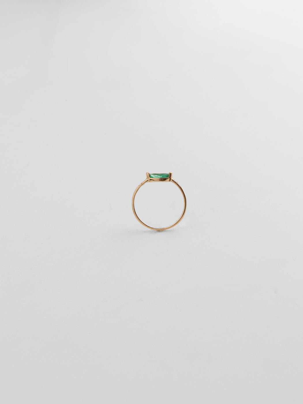 Margot Pave Ring - Emerald 14kt Yellow Gold