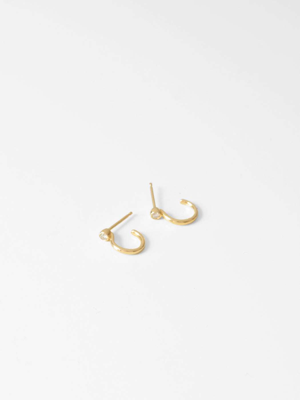 Marion Hugger Hoops / 12mm  / 14k Yellow Gold / White Diamond