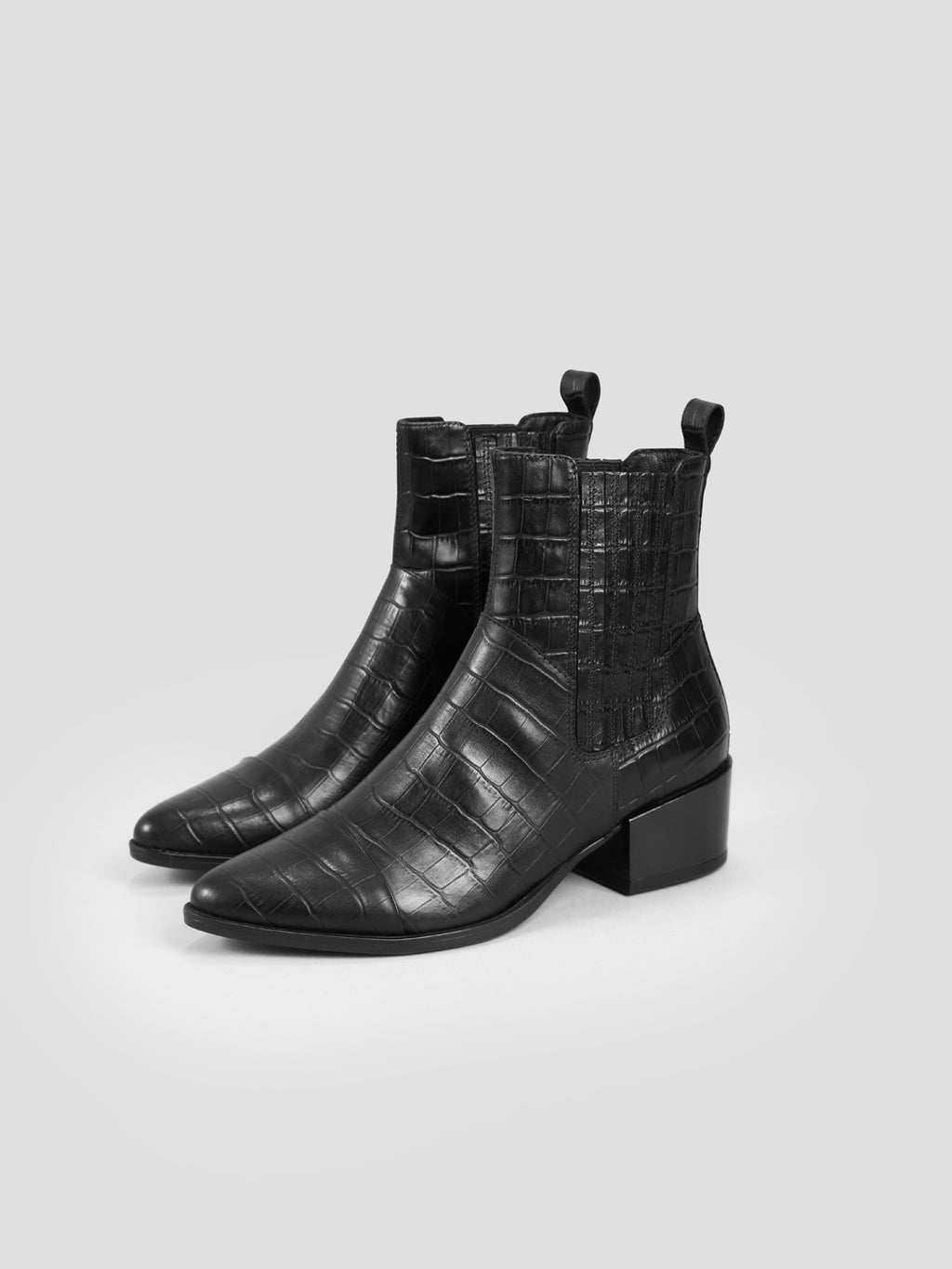 Marja croc-embossed black leather chelsea boot side view