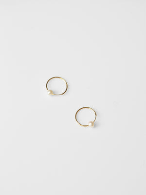 Pearl Sleeper Hoop 16mm /  Yellow Gold