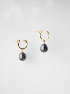 Pippa Drop Hoops / Black Pearl
