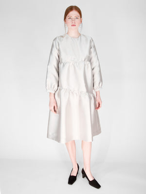 Beth - Poppy Dress / Silver Mikado