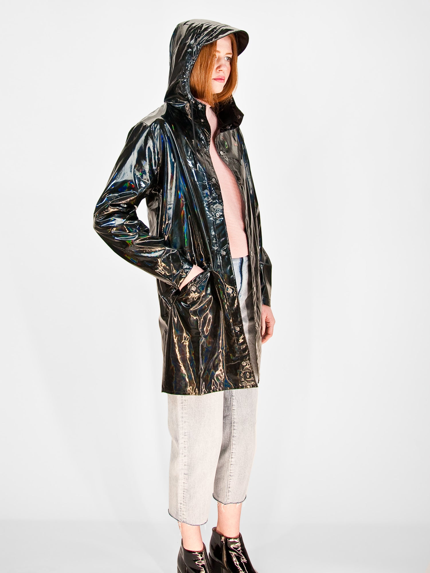 Rains - Long Holographic Jacket / Black