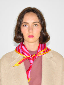 Echo - Silk Squiggle Diamond Scarf / Pink & Red