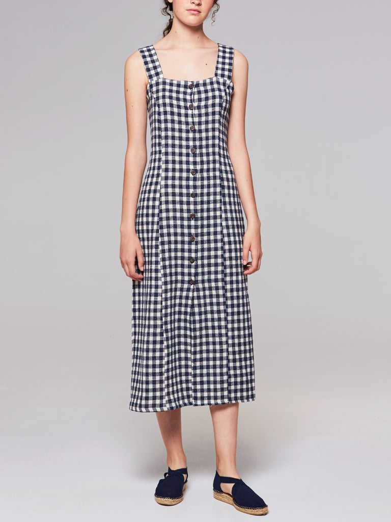 Rita Row - Stefan Dress / Navy Gingham