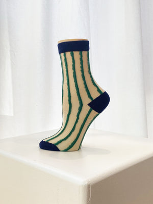 Sheer Striped Sock / Blue Toe
