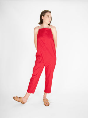 Beth - Yard Jumpsuit / Maraschino Twill