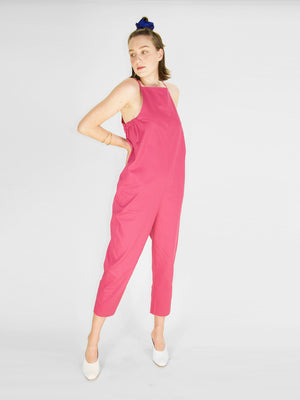 Beth - Yard Jumpsuit / Raspberry Twill