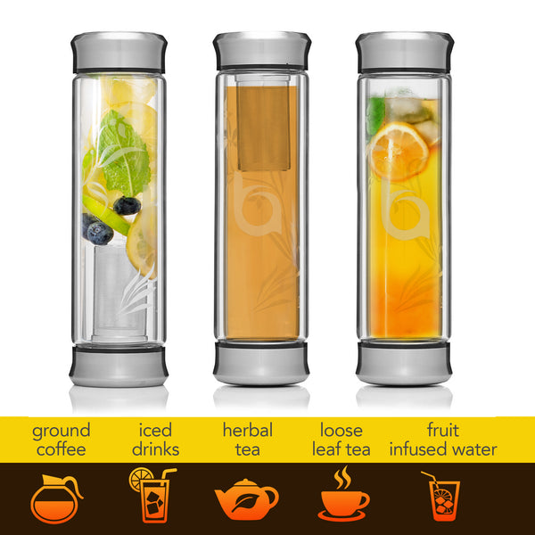 Bovoka Double Wall Glass Tea Infuser with Stainless Steel Lid - 13oz