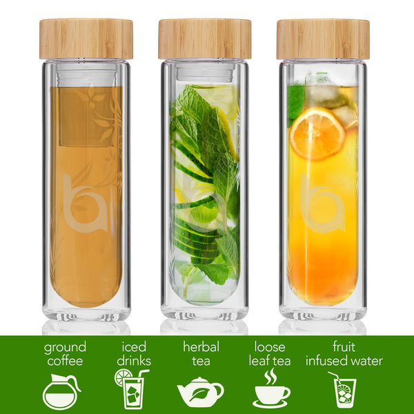 Bovoka Double Wall Glass Tea Infuser with Bamboo Lid - 13oz