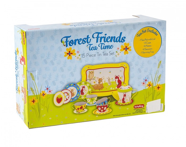 FOREST FRIENDS TEA TIME 15 Piece Tin Tea Set
