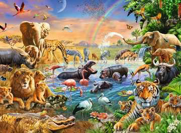 Ravensburger 100PCS Savannah Jungle Waterhole
