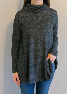 Charcoal Cowl Neck A Line Tunic