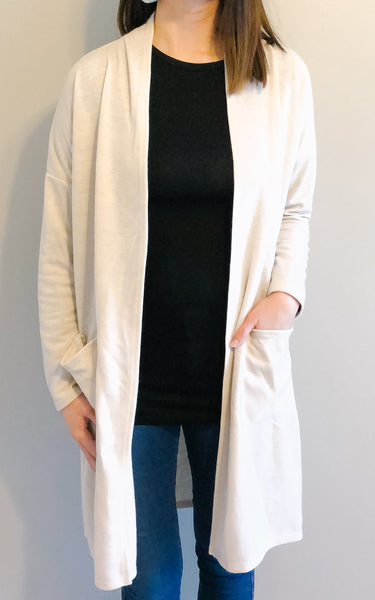 Cream Knee-Length Cardigan