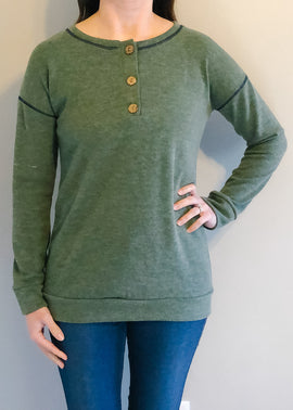Olive Buttoned Knit Tee