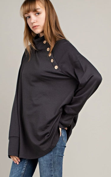 Charcoal High Neck Pullover