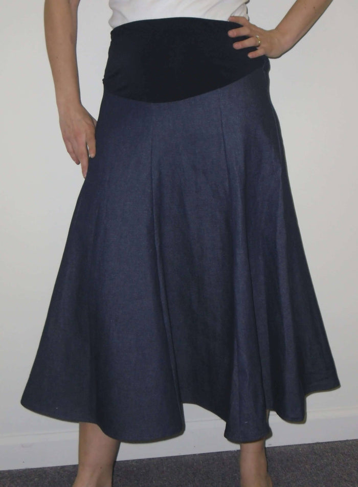Long Gored Maternity Twill Skirt