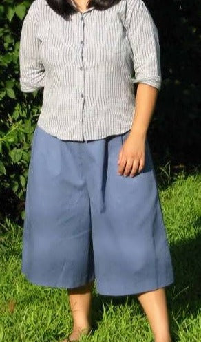 Front Pleat Culottes With Button And Side Zipper - Small-6XL
