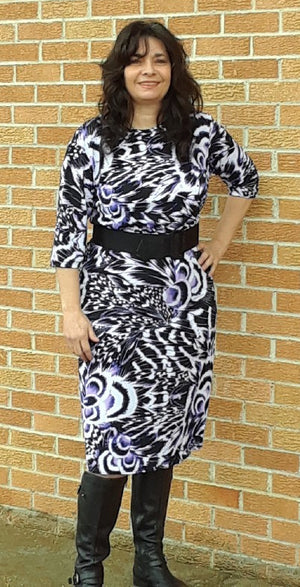 white black and purple dress with belt