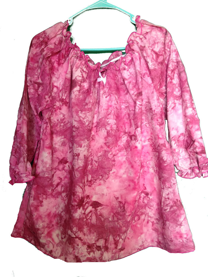 Modest Tie Dye Peasant Top-pink 2XL