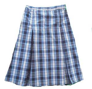 blue plaid pleated uniform skirt