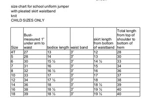 size chart for pleated uniform jumper knit
