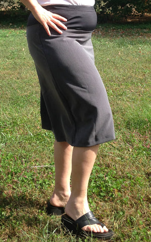 Knee length Maternity Pencil skirt with closed kick pleat