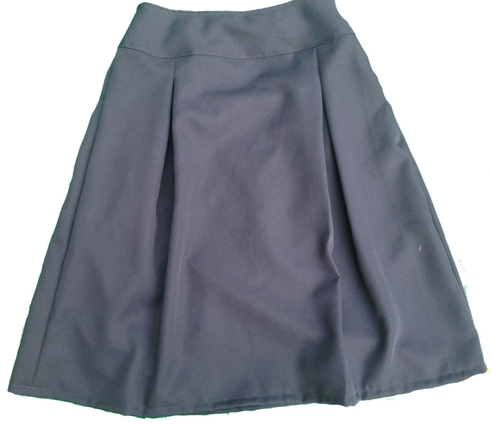 Modest Pleated School Uniform Skirt with yoke waist -size 10 navy ponti knit