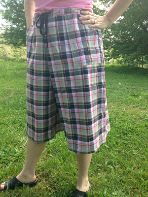 pink plaid culottes with drawstring side view