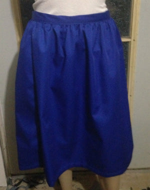 Gathered skirt with fitted waist in Royal blue