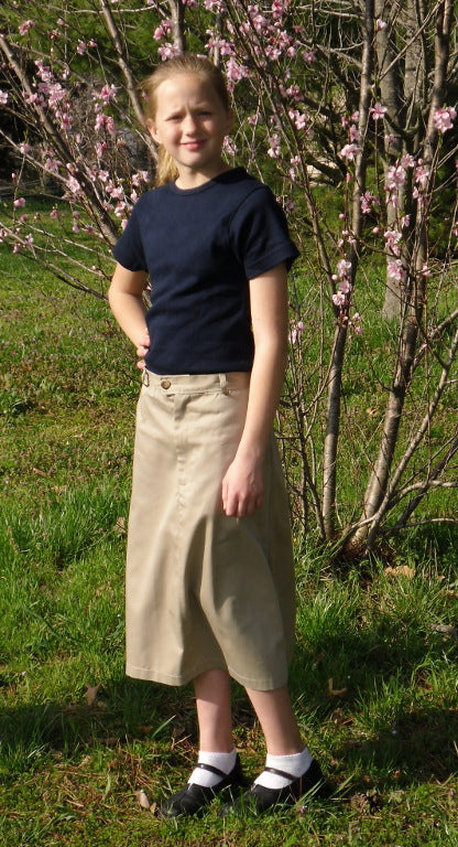Calf Length Twill School Uniform Skirt with pockets -child Sizes