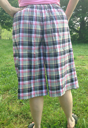 pink plaid culottes with drawstring side view-back view