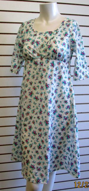 Nursing gown white blue and pink