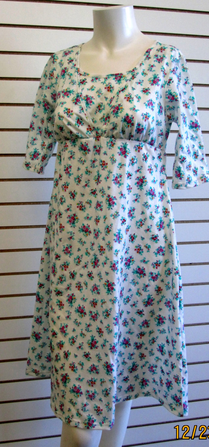 Nursing Dress in white blue and pink floral