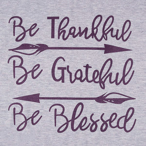 Women Fashion Top Be thankful, be grateful, be blessed grey with wine color long sleeves