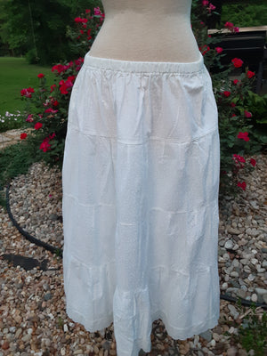 "Prairie Skirt - White With Little White Flowers and lace hem Large 35"" Length"