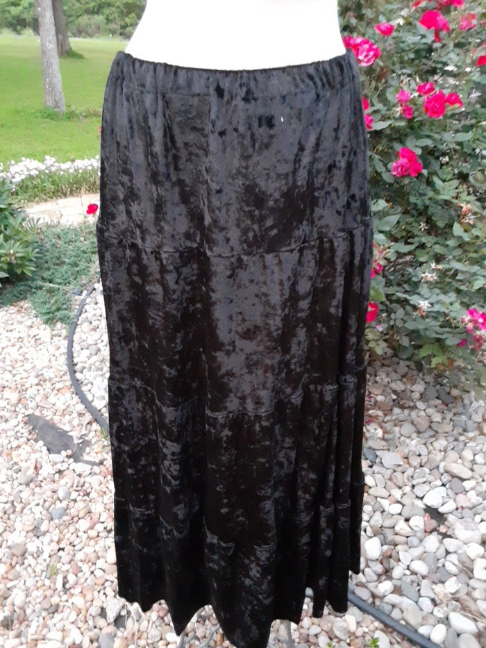 Long Black Crushed Velvet Skirt -Med