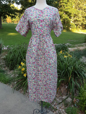 Modest Top Button Traditional Ankle Length Dress -SHORT sleeve with pockets Pink floral - Large
