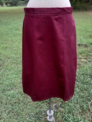 Long Fitted A-line Skirt size 14 wine and hunter green