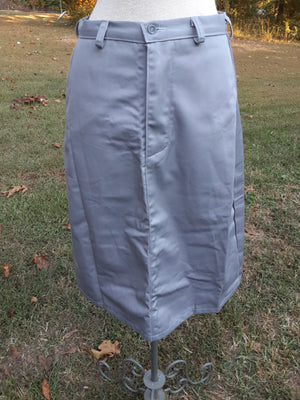 Calf length khaki Skirt with pockets-size 8 grey twill