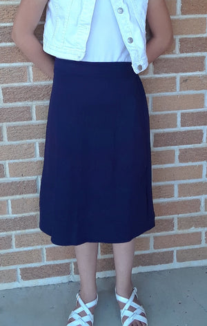 straight skirt ponti knit navy