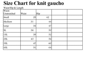 size chart for knit gaucho