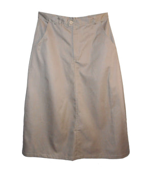 Long twill uniform skirt with pockets