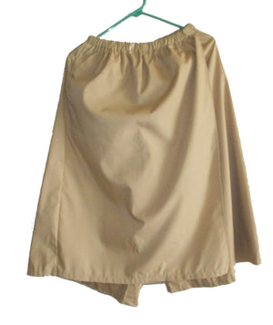 khaki skort underneath (the is the color of the khaki)