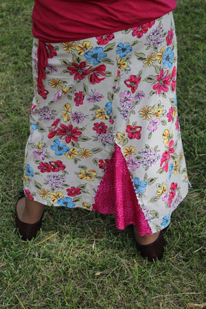 Upcycled Refashioned khaki skirt with hot pink and yellow flowers with hot pink middle size 8  back