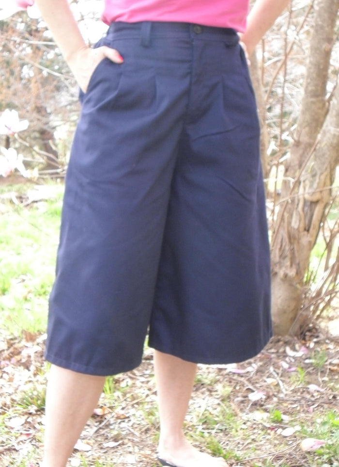 Front Pleat Culottes With Front Fly Zipper In Below the knee Length Small-2XL