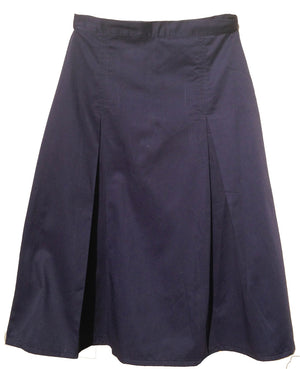 Pleated uniform skirt in navy twill